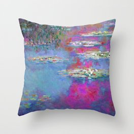 Water Lillies - Claude Monet (plastic pink) Throw Pillow