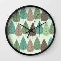 mid century Wall Clocks featuring Mid Century Trees by Johnson Waters
