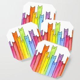 Cat Rainbow Watercolor Pattern Coaster