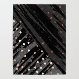 Elegant Contemporary Silver Zebra Polka Dots Pattern Poster