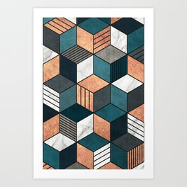 Copper, Marble and Concrete Cubes 2 with Blue Art Print