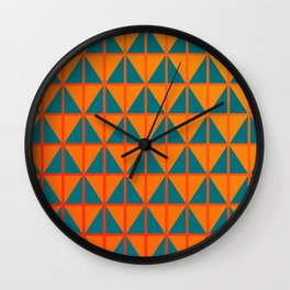 fiery triangle pattern in teal orange and red Wall Clock
