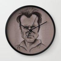 clint barton Wall Clocks featuring Clint by chadizms