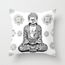 Buddha, HOME DECOR,with hand-painted Mandala Clouds,iPhone case,iPhone cover,iPhone skin,Laptop skin Throw Pillow