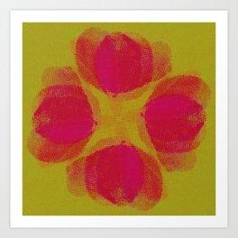 green lemon and pink flowers pattern Art Print