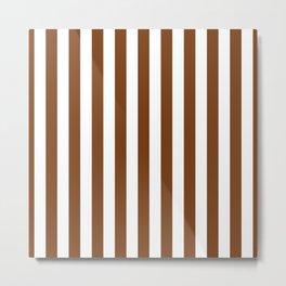 Dark Toffee Brown Beach Hut Vertical Stripe Fall Fashion Metal Print