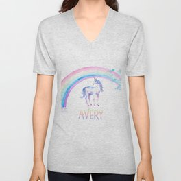 Unicorn and Rainbows Avery 2 Unisex V-Neck