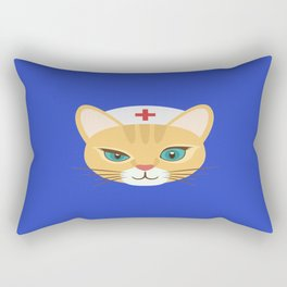 Nurse Cat ~ Blue Rectangular Pillow