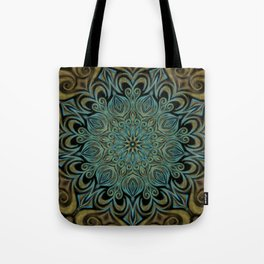Teal and Gold Mandala Swirl Tote Bag
