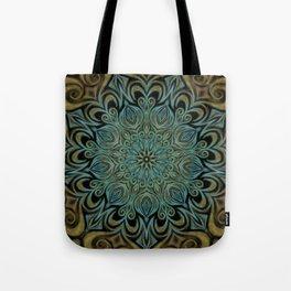 Teal and Gold Mandala Swirl Tote Bag