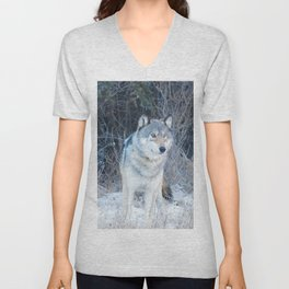 Grey Wolf in the Canadian Rocky Mountains Unisex V-Neck