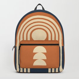 Geometric Lines in Terracotta Navy Blue 3 (Rainbow and Sunrise Abstract) Backpack