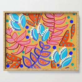 Whimsical Leaves Pattern Serving Tray