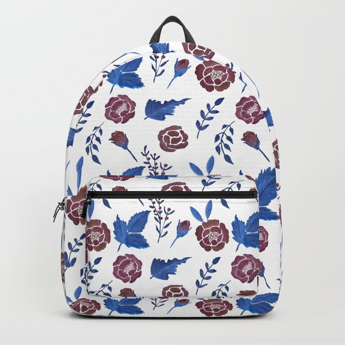 Watercolor floral red roses print Backpack