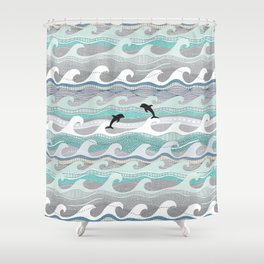 dolphins and waves Shower Curtain
