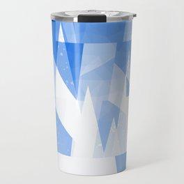 Abstract Blue Geometric Mountains Design Travel Mug