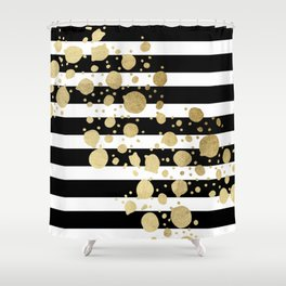 Faux Gold Paint Splatter on Black & White Stripes Shower Curtain
