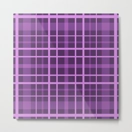 Plaid in black and purple colours . Metal Print