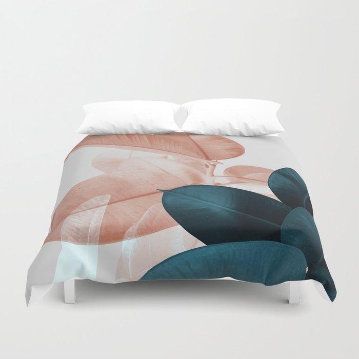 Blush & Blue Leaves Bettbezug