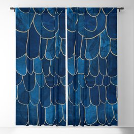 Stratosphere Sapphire // Abstract Blue Flowing Gradient Gold Foil Cloud Lining Water Color Decor Blackout Curtain