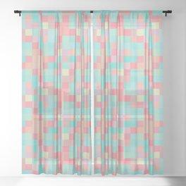 Neon teal pixel play mosaic Sheer Curtain