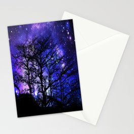 Black Trees Blue Violet Purple Space Stationery Cards