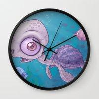 sea turtle Wall Clocks featuring Sea Turtle by John Schwegel