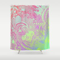 hologram Shower Curtains featuring Hologram Wave by michiko_design