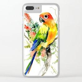 Sun Conure Parakeet, tropical colors parrot art design Clear iPhone Case