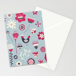 Scandi Birds and Flowers Blue Stationery Cards