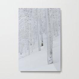 Snow covered forest winter wonderland Metal Print