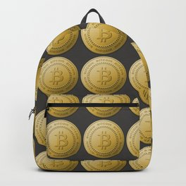 Gold Bitcoin Logo Symbol The Future is Now Backpack