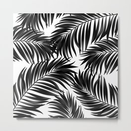 Palm Tree Fronds Black on White Maui Hawaii Tropical Graphic Design Metal Print