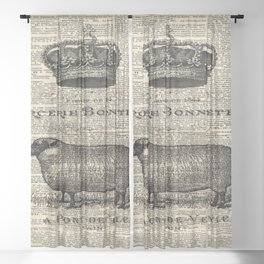 french dictionary print jubilee crown western country farm animal sheep Sheer Curtain