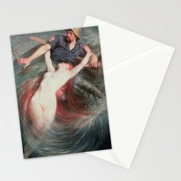 The Siren and the Fisherman nautical methological landscape painting by Knut Alfred Ekwall  Stationery Cards