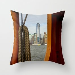Freedom Tower through The Boat Throw Pillow