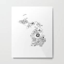 Michigan Hand Drawn Type and Illustrations Metal Print