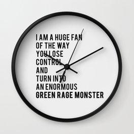 Green Rage Monster v2 Wall Clock