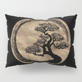 Enso Zen Circle and Bonsai Tree Gold Pillow Sham