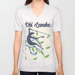 Sri Lanka Vintage style travel poster Unisex V-Neck