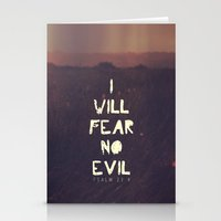 pocketfuel Stationery Cards featuring I will fear no evil - Ps 23:4  by Pocket Fuel