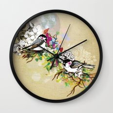 Two Birds Wall Clock