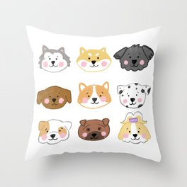 Nine Cute Dogs in White Throw Pillow