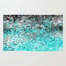 Aqua Gray Pixels Rug