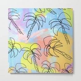 Palm tree pattern summer illustration tropical beach California pastel color Metal Print