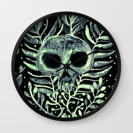 skull in leaves Wall Clock