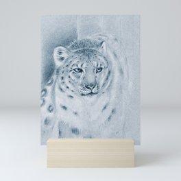 Snow Leopard Ghost Blue Drawing Mini Art Print