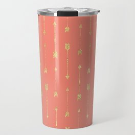Coral And Gold Glitter Arrow Pattern Travel Mug