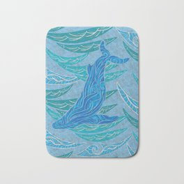 Watercolor Whale Dive Bath Mat