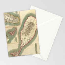 Vintage Map of Various Islands of The Caribbean Stationery Cards